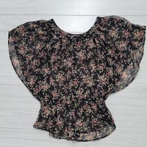 Black Background with Floral Design Blouse